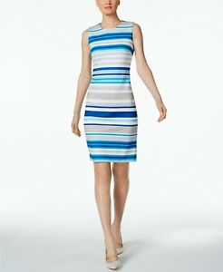 Calvin-Klein-NWT-Exquisite-KHAKI-MULTI-Striped-Scuba-Sheath-Dress-2-4-8-10-12-14