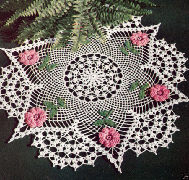 Vintage Crochet Pattern To Make Irish Rose Flower Doily Centerpiece