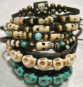 Skull-Beaded-Bracelet-Wristband-MENS-BOYS-LADIES-goth-emo-punk-rock-surfer-sugar
