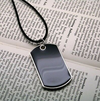 Military Mens Army Black Dog Tags Chain Pendant leather Necklace w/Tracking N040