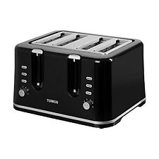 Tower T20010 4-Slice Toaster with Variable Browning Control 1740 W - Black NEW