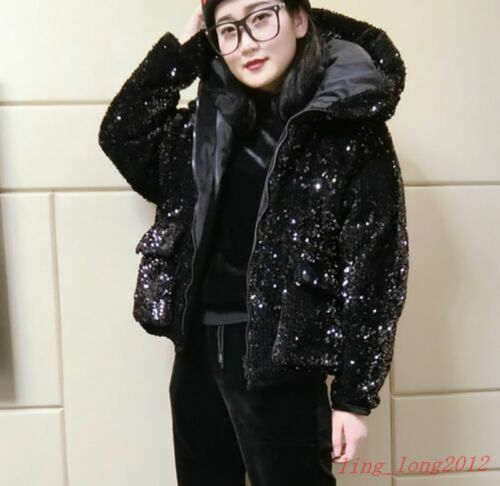 Cotton Padded Overcoat Loose Women/'s Winter Coat Occident Sequins Hooded Parkas