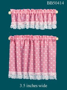 Details About Cottage Curtains With Pink Nursery Hearts 1 12 Scale