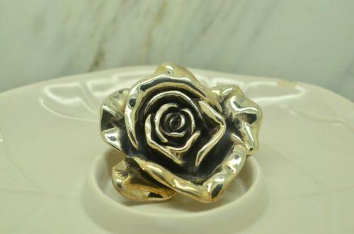 Vintage stamped 925 Sterling silver handmade pendant solid 925 silver 3D rose flower 020419