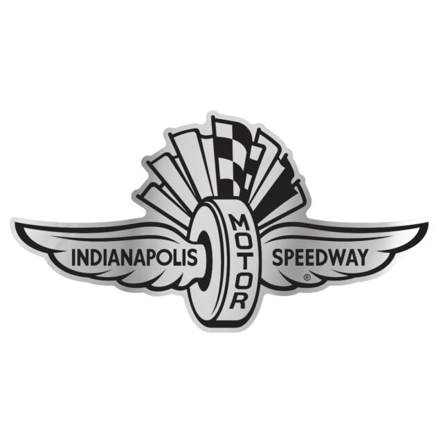 Indianapolis Motor Speedway Wings Wheel Flag Chrome Auto Badge Decal
