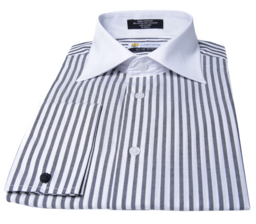 Labiyeur Slim Fit Black and White Striped Cotton Blend French Cuffs Dress Shirts