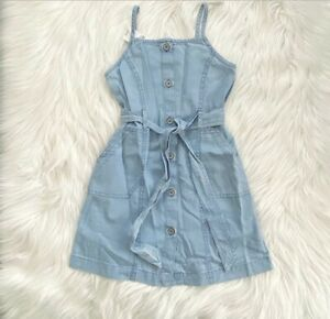 Gap-Kids-Girls-Chambray-Denim-Button-Front-Belted-Dress-S-6-7-NWT