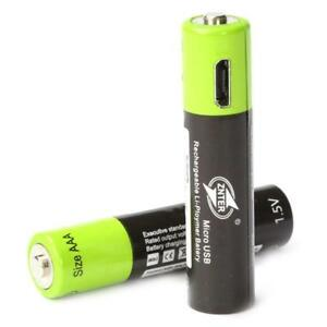 2X-1-5V-AAA-400mAh-LiPo-li-ion-lithium-rechargeable-battery-USB-charging-Q4I4