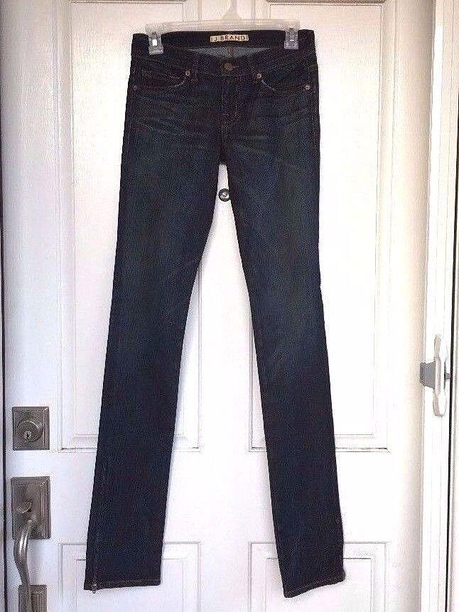 NWOT Nordstrom J BRAND Ultra Low-Rise Distressed Medium bluee Ankle Zip Jeans, 25