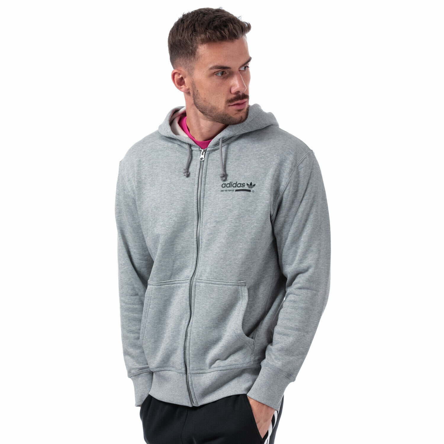 Mens adidas Originals Kaval Fz Hoody In Grey