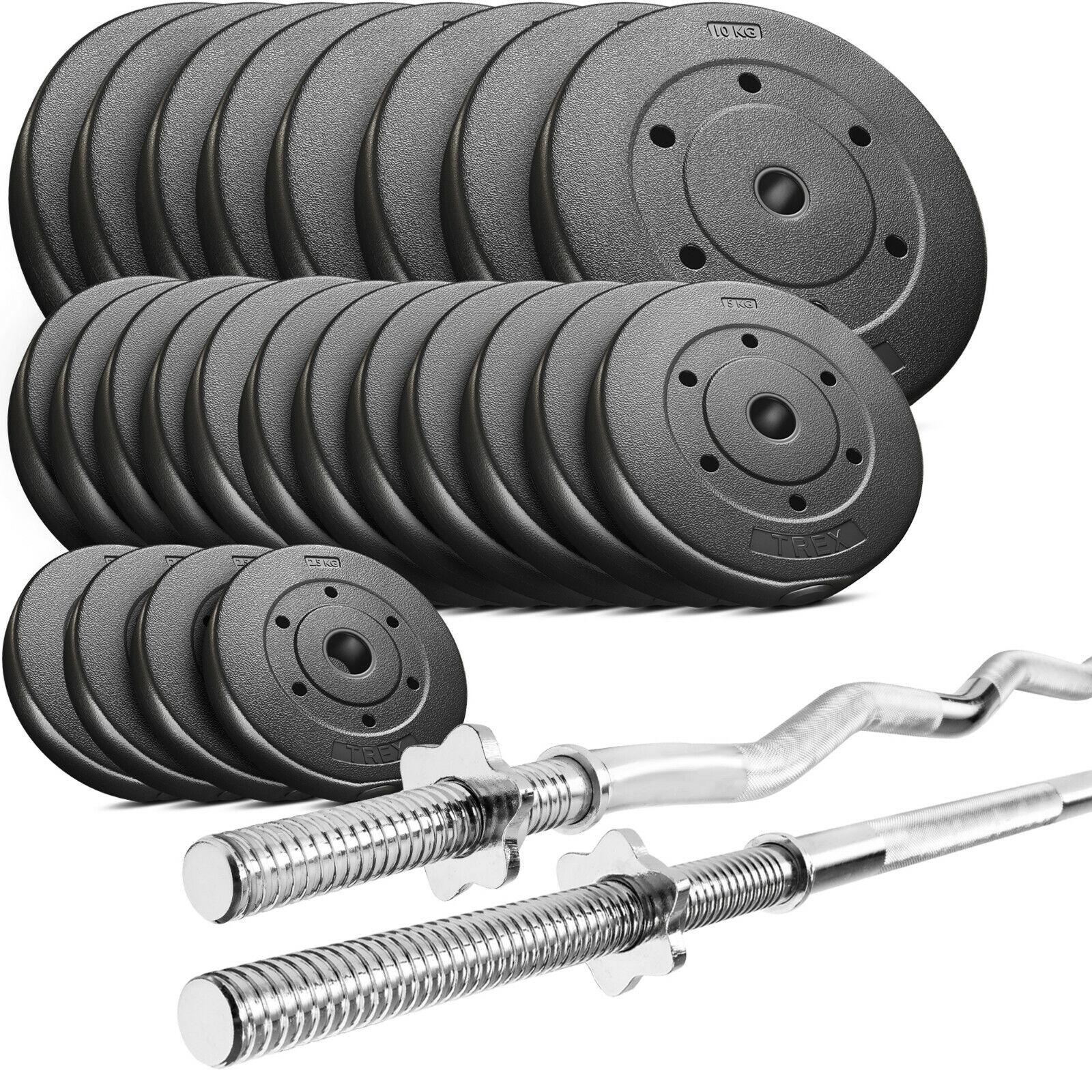 Trex hantelset Set Tige Disques D'haltères Poids 30-150 kg de long - & Haltère