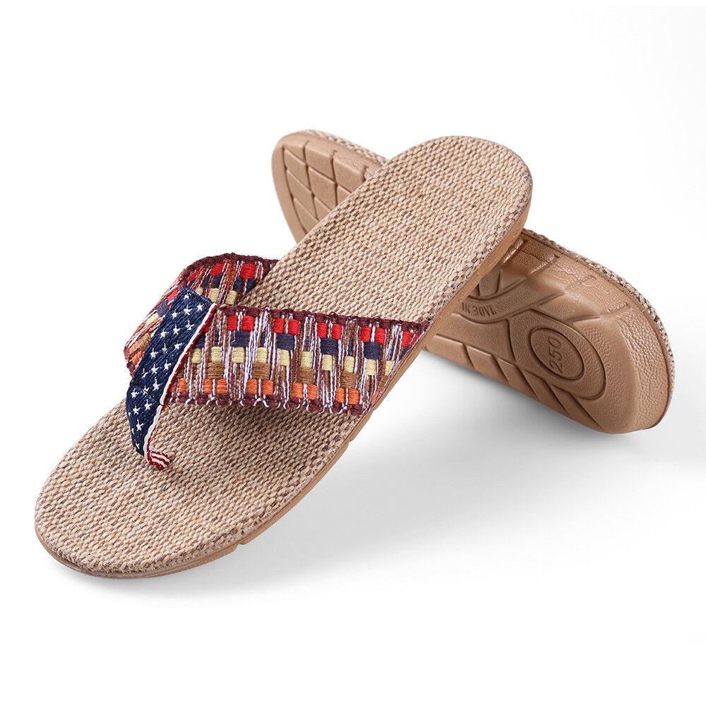 Size 7 & 8.5 Women Summer Anti-slip Flax Flat Linen Flip Flops Thong Flat Flax Sandals c0d3b2