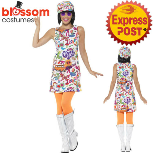 CA690 1960s Groovy Chick Hippie Hippy 1970s Retro Disco Dress Up Womens Costume