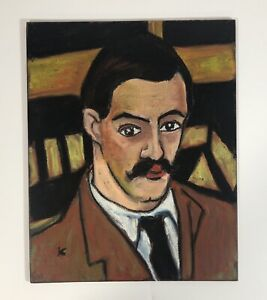 Original Oil Pastel Portrait 'Maurice Utrillo' French Valadon Impressionist Era