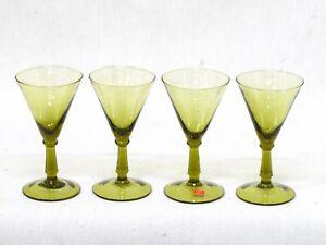 Vintage Green Hand Blown Italian Sherry Cordial Liqueur Stemware