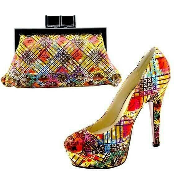 BRAND NEW AFRICAN PRINT GLAM AND GLITZ SHOES Size 40 and PURSE