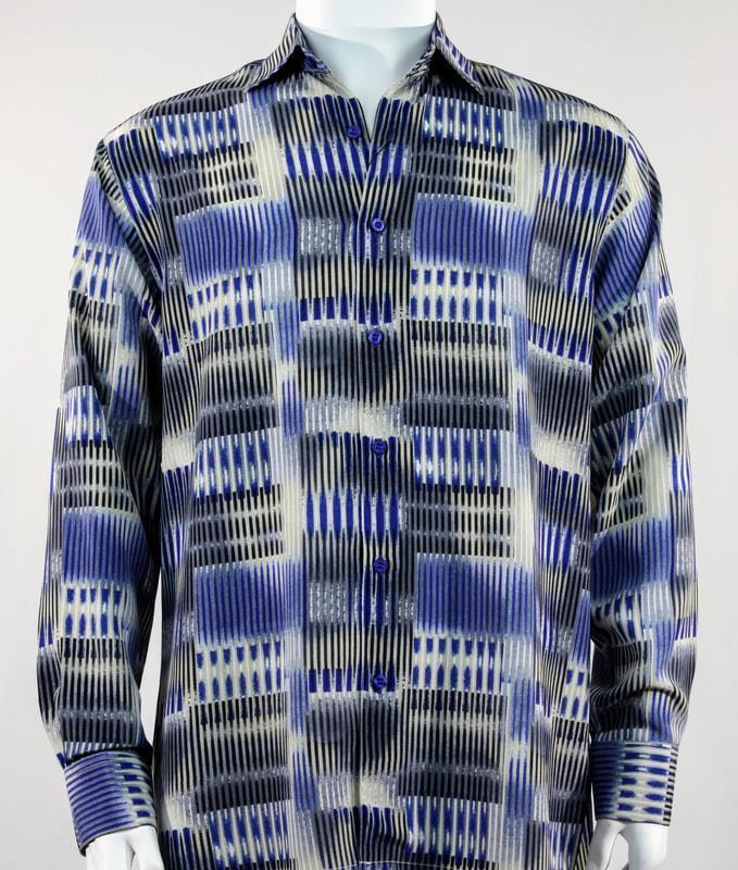 New Bassiri Men's Royal bluee Long Sleeves Printed Fashion Casual Shirt 6128