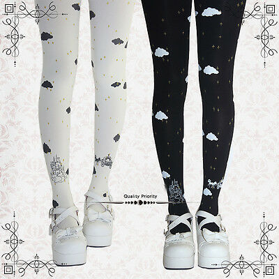 Kawaii Womens Sky Carriage Castle Lolita Tights Pantyhose Cute Velvet 5 colors