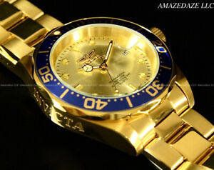 NEW-Invicta-Men-039-s-Pro-Diver-SUBMARINER-Golden-Dial-Stainless-Steel-Watch