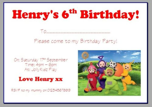 personalised photo paper card birthday party invites invitations TELETUBBIES #3