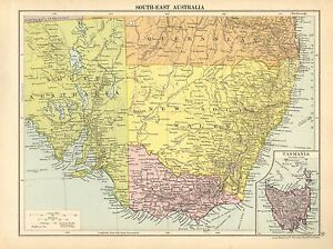 Map Eastern Australia.Details About 1929 Map South East Australia New Soth Wales Victoria Tasmania