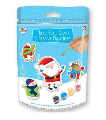 Make Your Own Christmas Santa Festive Figures /& Paint Plaster Paris Kids Craft