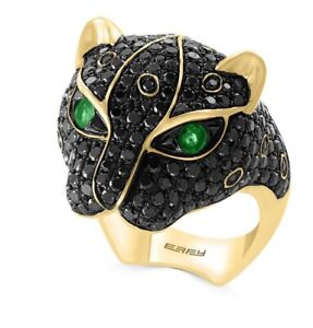 014ced0912abe NEW! 14K Yellow Gold, Emerald & Black Diamond Panther Ring/ Size 7 ...