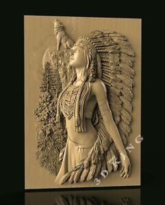 STL 3D Model WOMAN & WOLF for CNC Router Engraver Carving Aspire Artcam 3D Print