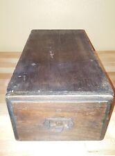 Old Wooden Drawer Index Card Holder Pull Filing Cabinet Office Vintage / Retro