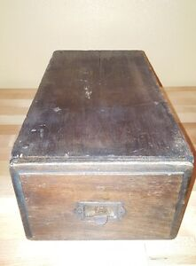 Brass Plated vintage antique drawer old File Cabinet Card Holder with Pull