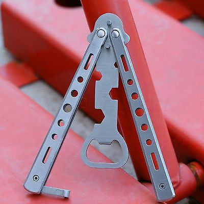 Silver Metal Bottle Opener Practice Balisong Butterfly Training Trainer Knife