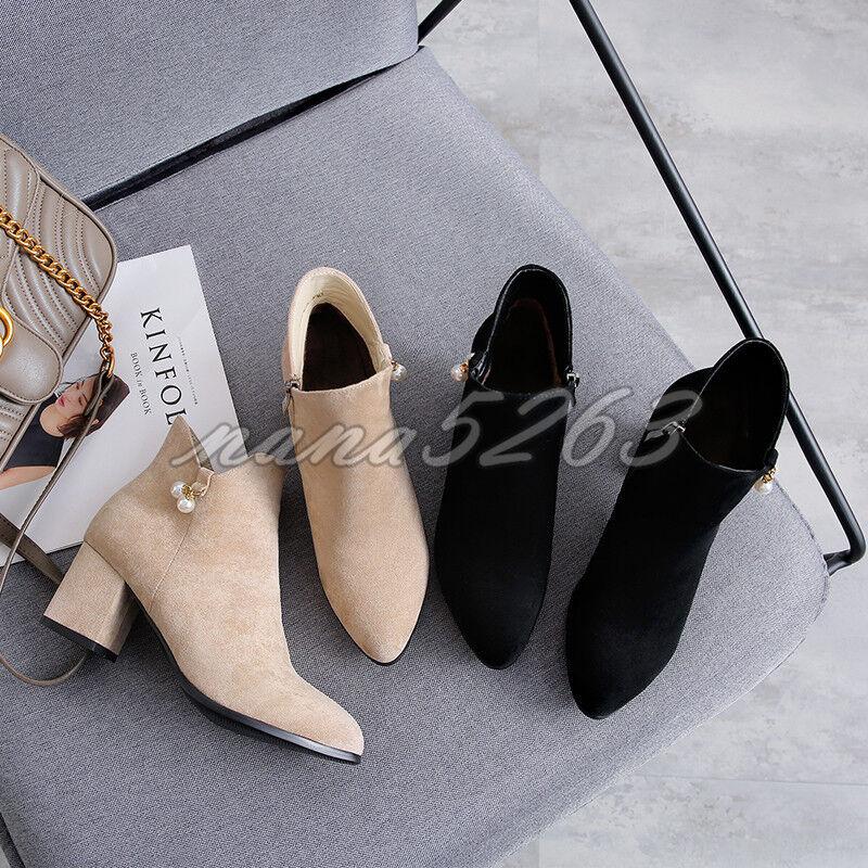 Blockabsatz Damen Ankle Stiefel Stiefeletten Alltag Party Elegant Spitz Gr.33-43