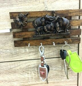 Key-Holder-Wall-Mounted-Wooden-Vintage-Elephant-Style-Key-Hook-Hanger-Home-Decor