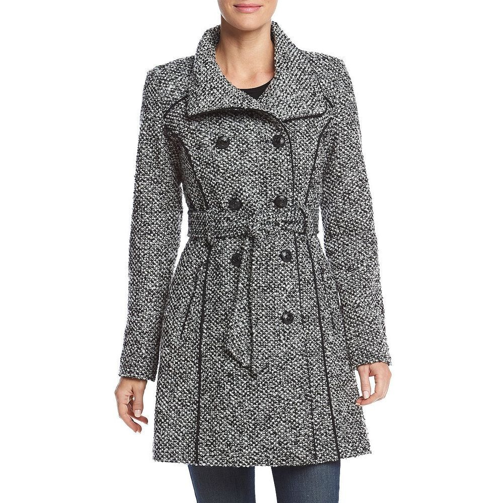 NEW  GUESS  Double Breasted   Tweed Tweed Tweed Coat Size XL 64225d