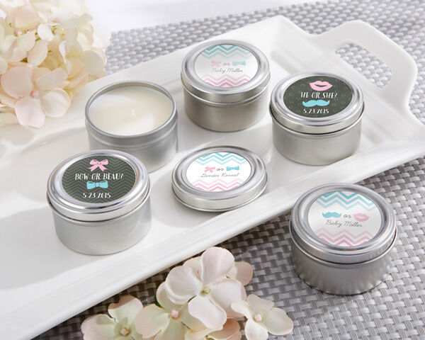 48 Personalized Gender Reveal Round Candle Tins Baby Shower Favors