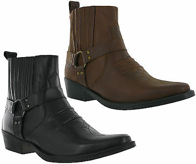 Diskret Leather Cowboy Pull On Western Harness Cuban Heel Mens Smart Ankle Boots Uk 7-12