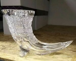 Czech-bohemia-crystal-glass-Cut-crystal-vase-034-horn-034-24cm-10-034