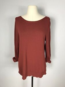 Soft Surroundings 3/4 Rolled Sleeve Boat Neck Knit Top Women's M