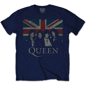 QUEEN-Vintage-Union-Jack-T-Shirt-Blue-OFFICIAL-All-Sizes-Logo-Freddie-Mercury