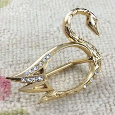 Vintage Swan Scarf Ring Malka Paris France Bird Gold Tone Metal Rhinestones
