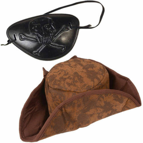 Brown Pirate Hat /& Eyepatch Fancy Dress Accessory Jack Sparrow Caribbean