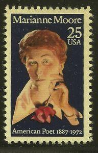 US-Scott-2449-Single-1990-Marianne-Moore-25c-VF-MNH