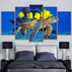 Underwater Sea Life Ocean Fish 5 pcs Modern HD Art Wall Home Decor Canvas Print