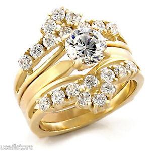 3-7ct-18kt-Gold-EP-Ladies-Wedding-Band-Engagement-Ring-Set