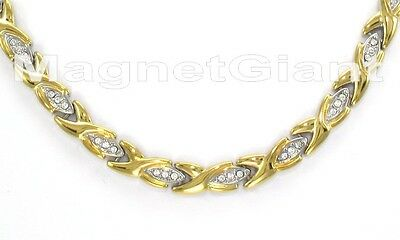2 tone CZ Women hugs /& kisses magnetic stainless steel 316L links necklace XOXO