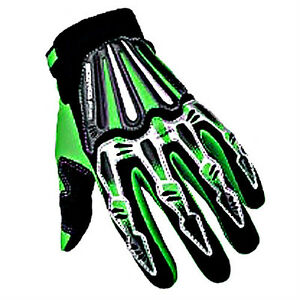 Adult-Motorcycle-Motocross-MX-ATV-Dirt-Bike-Racing-Skeleton-Textile-Gloves-Green
