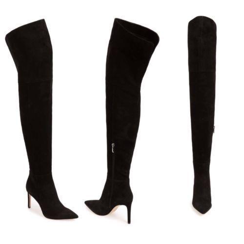 Sam Edelman Heel Bernadette Black Suede High Heel Edelman Over the Knee Boots PICK SIZE f869ac