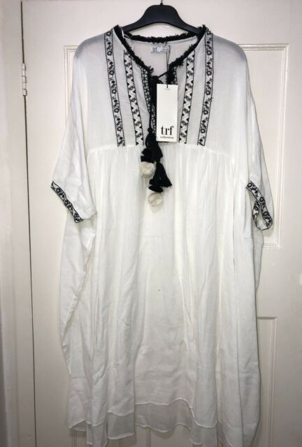 07e5f620 ZARA OFF-WHITE EMBROIDERED ASYMMETRICAL TUNIC DRES WITH TASSELS SIZE XS-S  BNWT