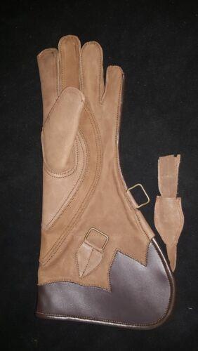 """FALCONERIA /& GUFO mano destra Guanto 3 strati in pelle di nabuk 16/"""" Eagle Opaco Marrone"""