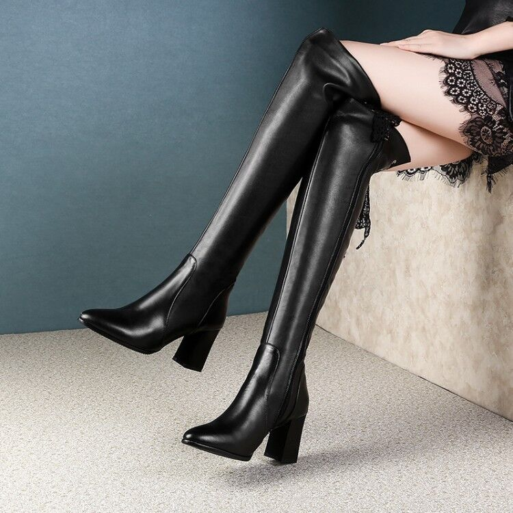Black Women Lace Strappy Pointy Toe Side Zip Leather Block Heel Thigh High Boots